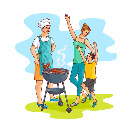 Hand drawn family at barbeque party. Man, father chief cooker standing near bbq grill preparing meat steak, mother young woman with son having fun. Vector sketch style illustration isolated