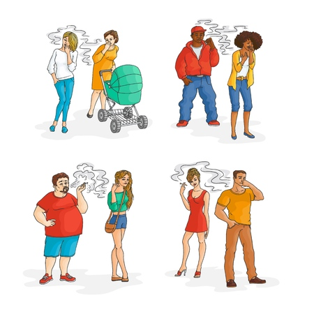 Smokers people and irritated passive smokers set. Vector african, caucasian characters, woman with baby stroller, obese man, girl in red dress. nicotine addiction and passive tobacco smoking risk