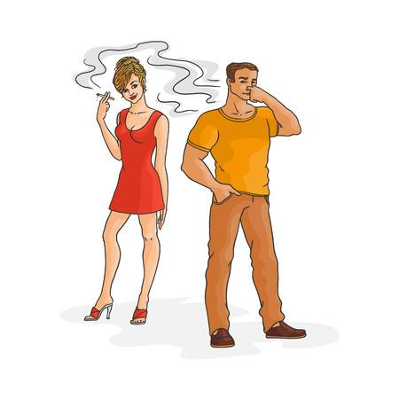 Mujer joven en vestido rojo fumando, hombre irritado pellizca la nariz. Personajes femeninos masculinos caucásicos, fumador adicción a la nicotina tabaco concepto de riesgo de tabaquismo pasivo. Ilustración de vector aislado
