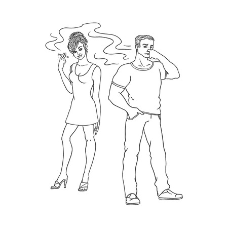 Young woman in red dress smoking, irritated man pinches nose. Caucasian male female characters, smoker nicotine addiction tobacco passive smoking risk concept. Isolated monochrome vector illustration