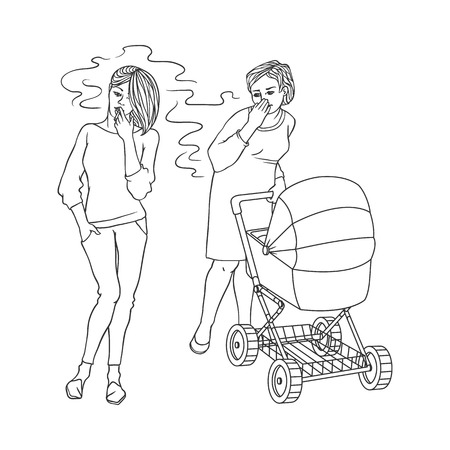 Blonde girl in jeans smoking near annoyed mother with baby stroller. Female caucasian characters, nicotine addiction and passive tobacco smoking risk concept. Vector monochrome sketch illustration