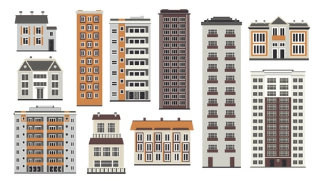 City elements of high-rise buildings front view with windows and doors in flat style isolated on white background. Collection of apartment houses and municipal structures. Vector illustration. Çizim