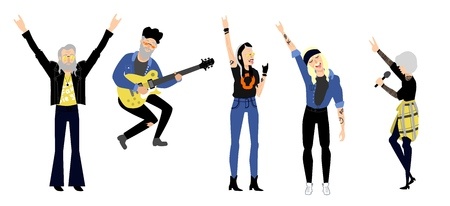 Rock music, culture people set. Alternative, heavy metal punk style clothing haircut elderly men, women playing electric guitar, singing song in micropphone, showing rock gesture. Vector illustration