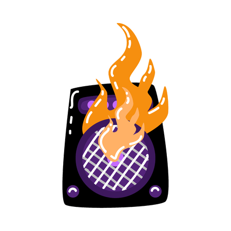Burning loudspeaker, acoustic stereo loud music equipment decorated in alternative rock style with fire flames icon. Isolated vector illustration in sketch style Vetores