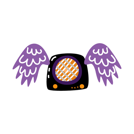 Vector flat guitar amplifier, acoustic loudspeaker stereo loud music equipment decorated in alternative rock style with wings icon. Isolated vector illustration in sketch style Banque d'images - 114909673
