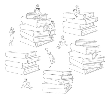 Vector hand drawn sketch people reading books, learning concept set. Girl student or worker standing read, man running with books, adult characters sitting at book piles. Monochrome illustration