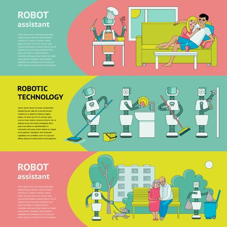 Flat fuman robots in modern life banner set. Bot working at home, support with household chores, walking with dog. Data science innovation, artificial intelligence machine learning Vector illustration Illustration