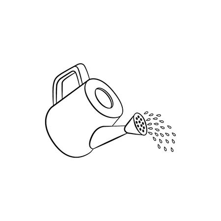 Icône de l'arrosoir versant de l'eau. Illustration vectorielle isolée avec du matériel de jardinage pour l'arrosage des fleurs des plantes. symbo environnement de croissance écologique, illustration monochrome