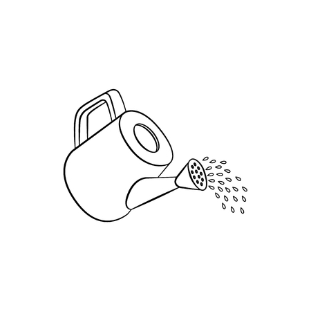 Watering can pouring water icon. Isolated vector illustration with gardening equipment for plant flowers watering. ecology growth environment symbo, monochrome illustration Ilustração