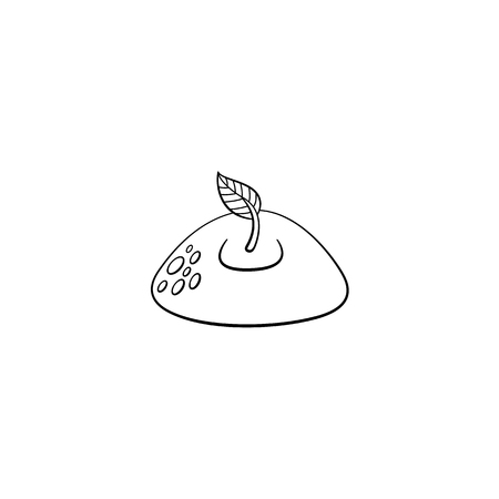 Sprouting from ground seedling, sapling with one leaf icon. Monochrome illustration with forest, garden plant. Vector sketch spring or summer, ecology and environment symbol on isolated background. 向量圖像