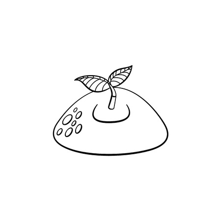 Sprouting from ground seedling, sapling icon. Illustration with forest, garden plant. Vector monochrome sketch spring or summer, ecology and environment symbol on isolated background. 向量圖像