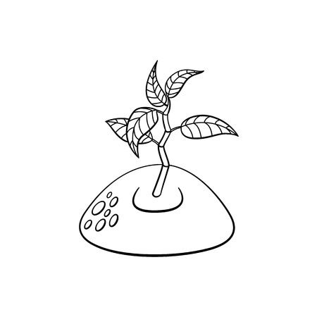 Sprouting from ground seedling, sapling icon. Illustration with forest, garden plant. Vector monochrome sketch spring or summer, ecology and environment symbol on isolated background. Illustration