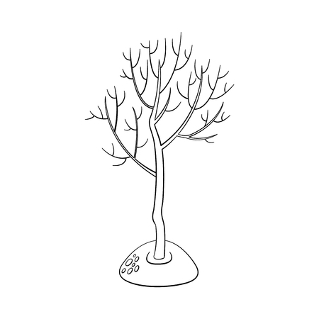 Tree without foliage icon. Monochrome illustration with forest, garden plant, spring or summer, ecology and environment symbol on isolated background.