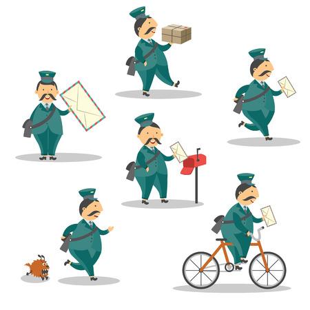 Set di caratteri allegro postino del fumetto. Operaio di servizio di consegna, postino in piedi in esecuzione in bicicletta sorridente tenendo la lettera. Uomo in protezione alzata uniforme professionale blu. Illustrazione di vettore Vettoriali