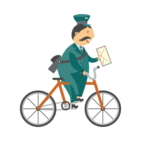 Cartoon postman cheerful character standing delivering parcel box by bicycle. Man in professional green uniform peaked cap. Delivery service worker, mailman. Vector illustration
