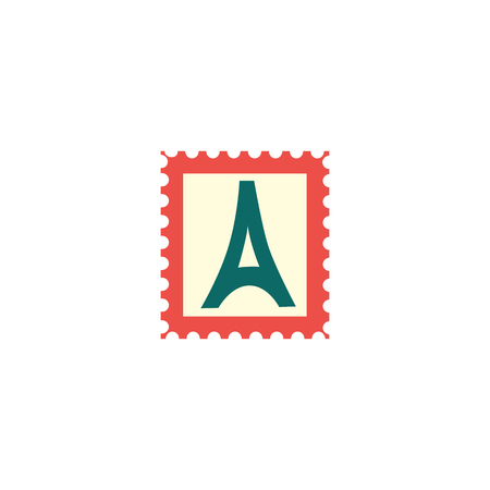 Postage stamp with Paris Eifell tower sign icon. Mail and post symbol used in postal letter delivery. Adhesive vintage postmark sticker. Vector flat illustration isolated