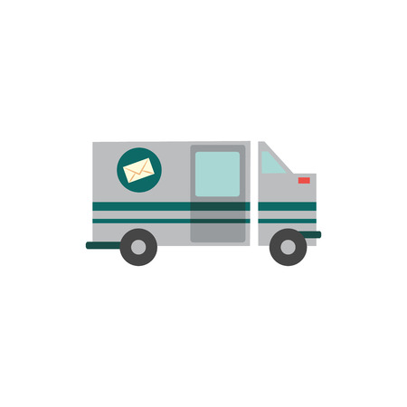 Flat cargo vehicle with green stripes and silver coloring. Delivery service, commercial transportation van side view. Logistics, postage industry element. Vector isolated illustration icon.