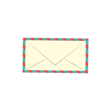 Postage mail paper white envelope with striped borders icon. Postcard, correspondence empty blank symbol. Vector flat isolated illustration