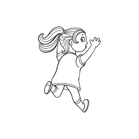 Girl in summer dress running looking back. Ranaway kid icon. Sketch teen female character, child running with afraid face back view. Isolated monochrome vector illustration Ilustração