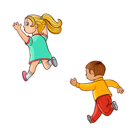 Girl and boy ranaway kids set. Sketch teen male, female characters, children in summer clothing running with afraid face looking back, back view. Isolated vector illustration Ilustração