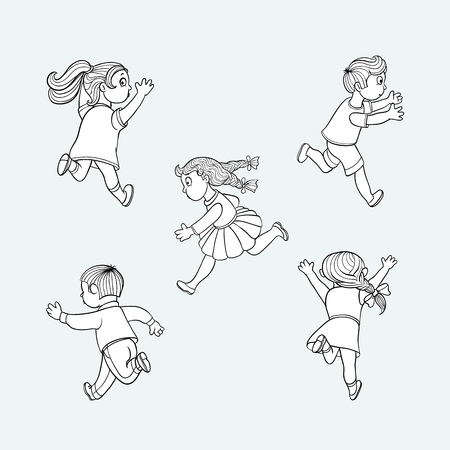 Girls and boys ranaway kids set. Sketch teen male, female characters, children in summer clothing running with afraid face looking back, back view. Isolated monochrome vector illustration Ilustração