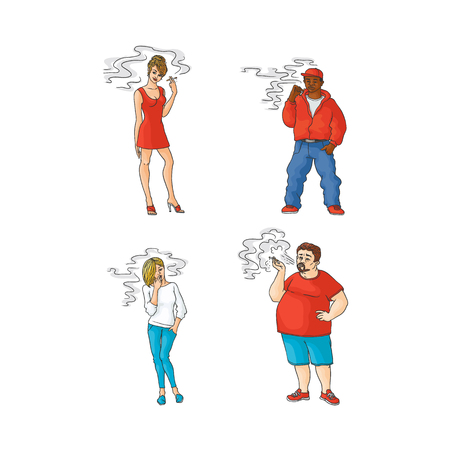 Caucasian hot woman in red dress, girl in jeans with cigarette, african man smoker, fat overweight guy smoking set. Nicotine addiction tobacco passive smoking risk concept. Vector illustration