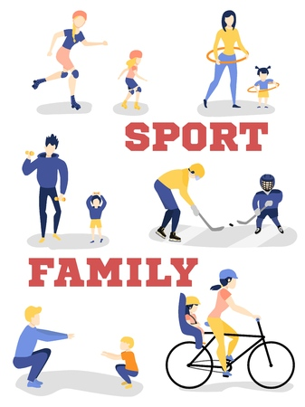 Vector flat family characters doing sports set. Girl boy kids, mother, father woman man adults working out squat, dumbbell exercies, hula hooping, roller skating, playing ice hockey, riding bicycle Illustration