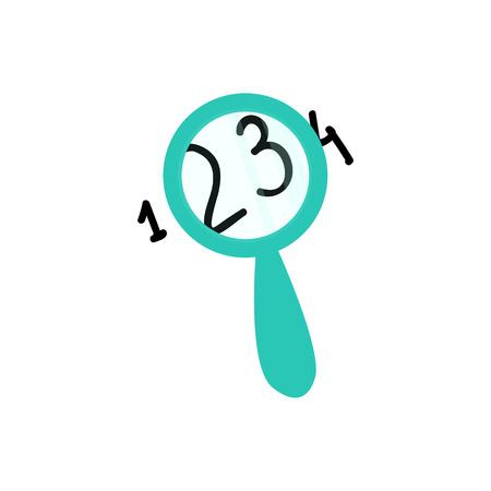 Magnifying glass showing enlarge numerals isolated on white background. Flat loupe vector illustration for searching, focusing or analyzing business concept.