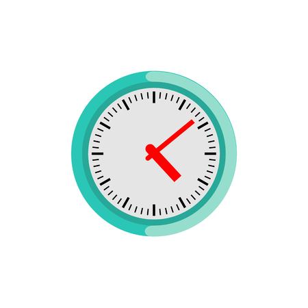 Circle wall clock isolated on white background. Classic round analog clock face - concept of punctuality, time-management, schedule or measurement of time. Flat vector illustration.