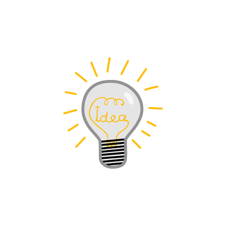 Doodle lightbulb with Idea word within glass and luminescence isolated on white background. Light bulb vector illustration - innovation and creativity concept. Иллюстрация