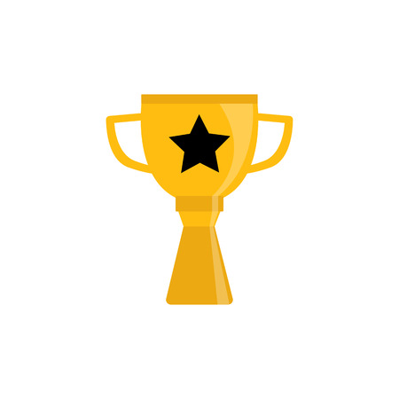 Champion golden trophy cup isolated on white background - sport or business success and winery concept. Shiny award goblet with star - symbol of victory. Flat vector illustration.