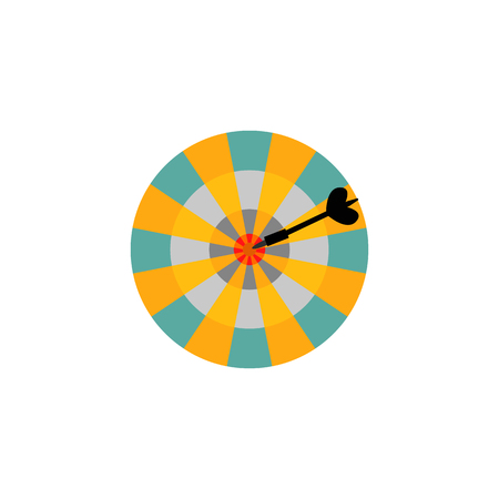 Dartboard with arrow in center target isolated on white background. Success and hitting straight to business goal concept with flat vector illustration of darts game. Stok Fotoğraf