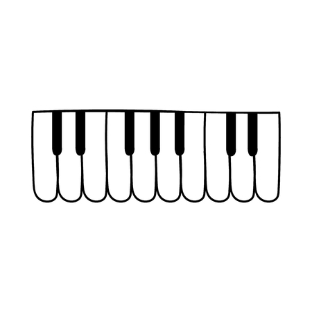 Piano keyboard silhouette icon. Classical instrumental music, jazz concept. Modern synthesizer in minimal style element. Vector isolated illustration.