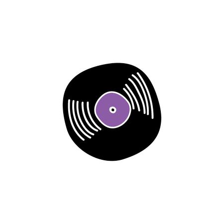 Vintage vinyl record, circle black retro music sound audio disk silhouette icon. Plastic disco tracks for gramophone, dj equipment. Isolated vector illustration in sketch style Stockfoto