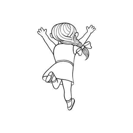 Girl in summer dress running looking back. Ranaway kid icon. Sketch teen female character with bow in pigtail, child running with afraid face back view. Isolated monochrome vector illustration