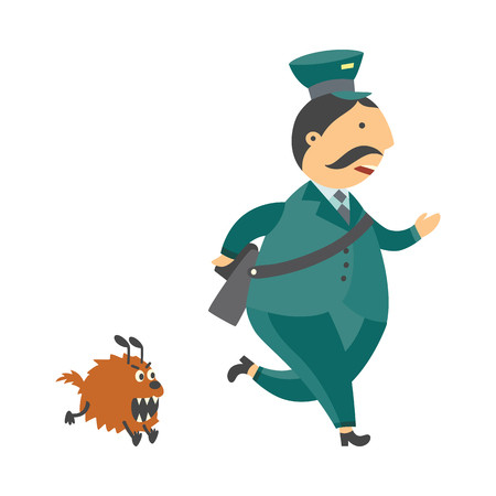 Cartoon postman cheerful character running away with fear from angry dog monster . Man in professional green uniform . Delivery service worker mailman. Vector illustration Stock Photo