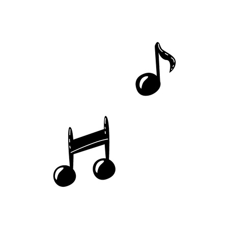 Music note icon silhouette sign. Graphic musical notation, melody sound sign. Isolated vector illustration in sketch style Stockfoto