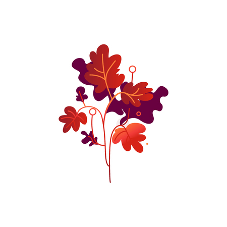 Red fall branch of leaves isolated on white background - seasonal decorative element for autumn natural design. Tree or grass foliage symbol in gradient vector illustration.
