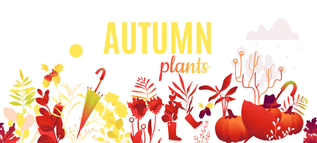 Abstract autumn red, orange plants and flowers pattern poster. Meadow, garden romantic wedding invitation card, autumnal seasonal holiday, harvest decoration element. Floral vector illustration Ilustrace