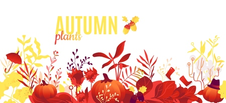 Abstract autumn red, orange plants and flowers pattern poster. Meadow, garden romantic wedding invitation card, autumnal seasonal holiday, harvest decoration element. Floral vector illustration Çizim