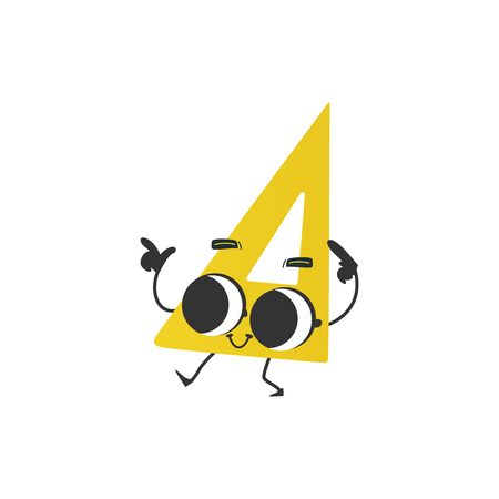 Flat humanized triangle ruler or square with arms and face emotions. Flat vector illustration. Happy, smiling character waving hands, Back to school concept, kids education instrument.