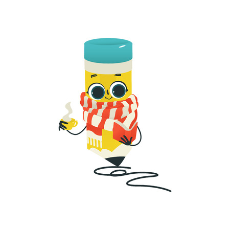 Humanized pencil in scarf with eraser at head, arms and face emotions holding coffee, book drawing curve line. Flat vector illustration. Happy, smiling character, Back to school kids education concept