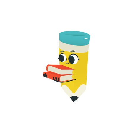Flat humanized pencil with eraser at head, arms and face emotions. Flat vector illustration. Happy, smiling character holding books pile, Back to school concept, kids education instrument.