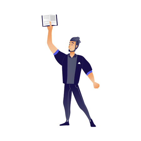 Young man with book - cartoon male character standing and holding open textbook in his hand up isolated on white background for education or reading leisure concept in vector illustration. Stock Illustratie