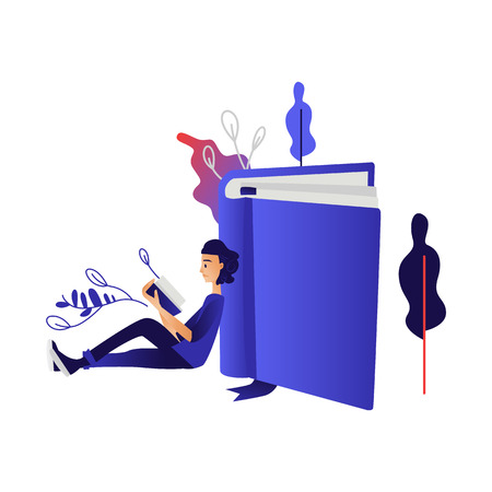 Young boy studying or relaxing with reading book - cartoon male character sitting on floor leaning on large book and reading for education or literary leisure concept in isolated vector illustration.