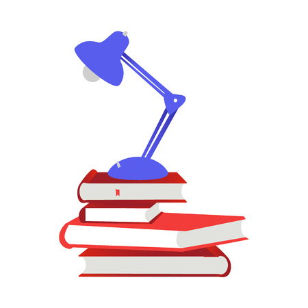 Pile of close paper books with red hardcover and reading-lamp isolated on white background - textbooks and lighting equipment for education or reading leisure in flat vector illustration.