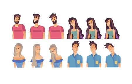 Young woman, man flat avatar for social networks, blogs use set. Long haired smiling girls in dress, male characters in tshirt portraits. Vector illustration