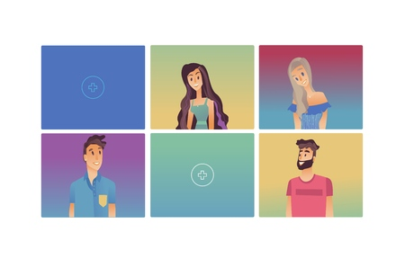Young woman, man flat avatar for social networks, blogs use set. Long haired smiling girls in dress, male characters in tshirt portraits. Vector illustrations in colored squares