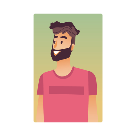 Brunette young man flat avatar for social networks, blogs use. Bearded smiling guy in pink tshirt, handsome male character portrait. Vector illustration on yellow background. Banque d'images - 114775113