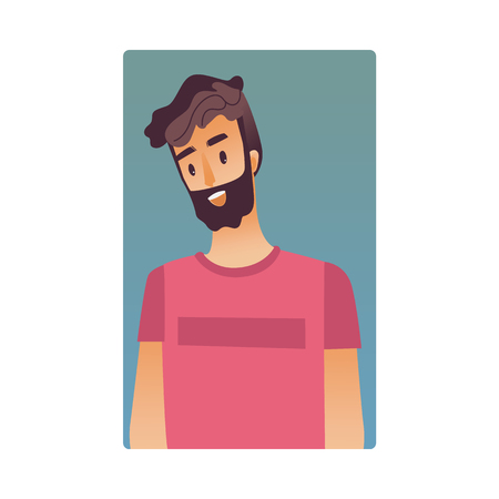 Brunette young man flat avatar for social networks, blogs use. Bearded smiling guy in pink tshirt, handsome male character portrait. Vector illustration on blue background. Banque d'images - 114775114